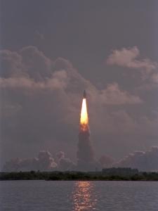 Space Shuttle Blastoff in Evening
