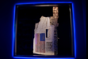 Display of Space Shuttle Challenger's Left Panel Showing the American Flag