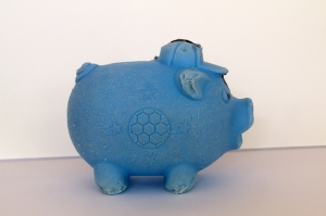 Beachcombing Find: Blue Piggy Bank from Guatemala (looking right)