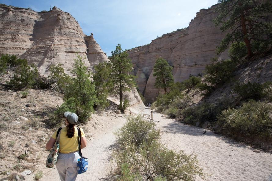 Hiking into Tent Rocks Slot Canyon