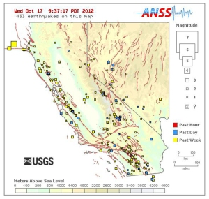 Earthquakes naturetime real time earthquake map of california and nevada on october 17 2012 gumiabroncs Images