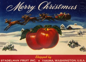 Merry Christmas Fruit Crate Label with Santa