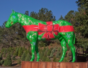 Holiday Present Theme Horse at Half Moon Bay, California