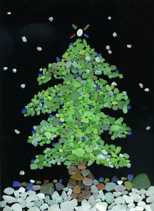 Sea Glass Christmas Tree Card