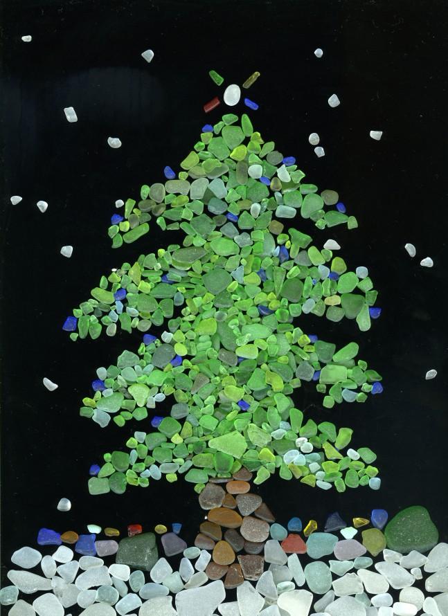 Sea glass christmas tree card naturetime