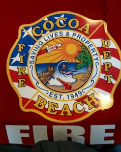 Cocoa Beach Fire Truck Logo with Jeannie Bottle