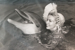 Vintage Photo:  Dolphin and Sunbonnet Lady