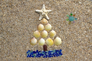 Sea Glass and Sea Shell Christmas Tree Card