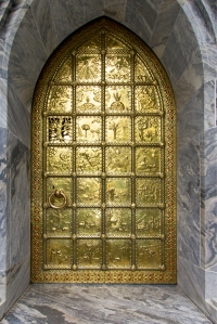 Entrance Through Golden Brass Door