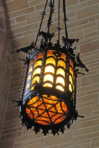 Wrought Iron Lantern (spider web base and birds encircling top)