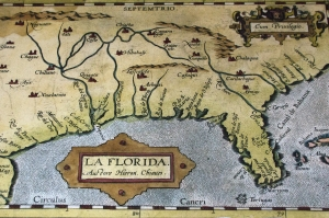 First Official Map of Florida (1584). Note Cape Canaveral is already on map.