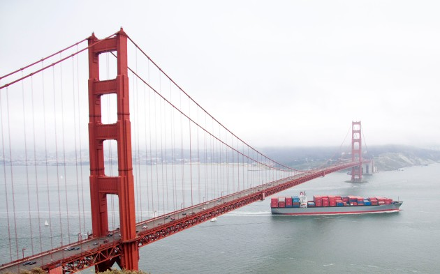 COLOR RED:  Golden Gate Bridge and Cargo Ship, San Francisco, California