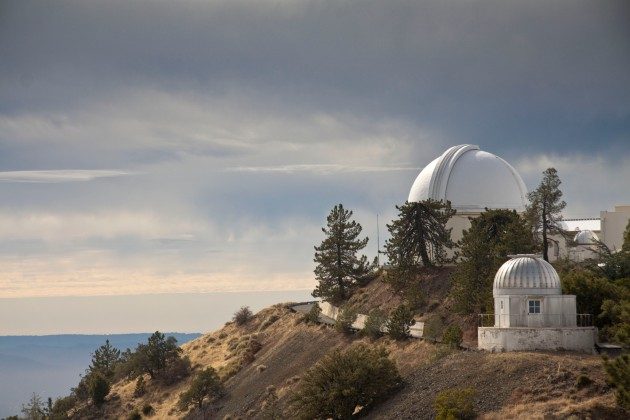 COLOR WHITE:  Lick Observatory at Summit of Mount Hamilton, California