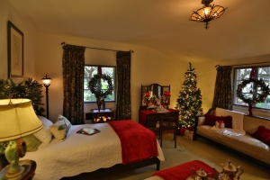 Bedroom with Window Wreaths