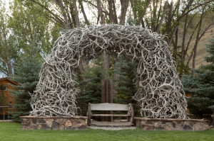 Elk Antler Arch over Bench in Jackson