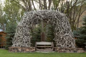 Elk Antler Arch over Bench in Jackson