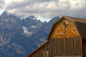 Preserved Reed Moulton Barn and Tetons