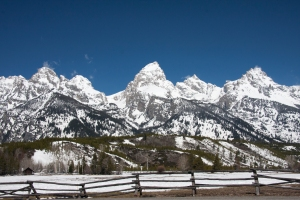 Snowy Tetons and Rustic Fence