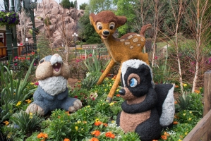 Bambi, Thumper, and Skunk named Flower Topiaries
