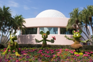 Mickey Mouse, Minnie Mouse, and Dog Pluto Topiaries