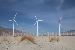 Wind Turbines Among Sand Dunes
