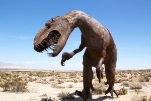 Statue of Nonlocal Allosaurus Dinosaur from Jurassic Era