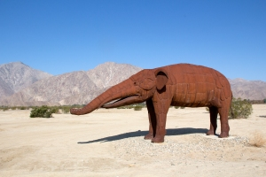 Statue of Ancient Gomphotheres (related to elephants) in Local Fossil Record
