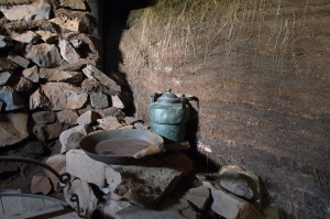 Cookware on Stone Fireplace