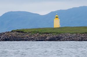 Engey Lighthouse on Engey Island in Reykjavik Harbor
