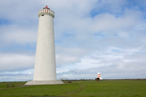 "Pair of Gardskagaviti Lighthouses (the ""brothers"").  Reykjanes Peninsula near Reykjavik"