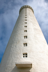 Looking up Gardskagaviti Tower (Iceland's tallest lighthouse)