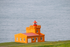 Siglufjordur (Seal Fjord) Lighthouse on Arctic Ocean (North Iceland)