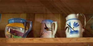 Painted Glassware (middle jug features a swallow)