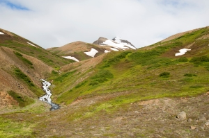 Dalvik Peninsula Mountains with Glacial Stream, Northern Iceland