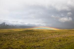 Stunning Low Altitude Rainbow in Landscape