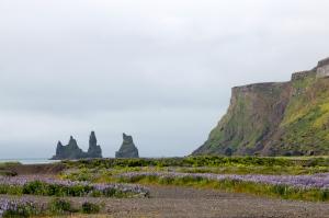 Three Rock Pillars Said to be Trolls Turned to Stone at Sunrise, South Coast