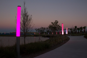 Color Wand Lit Path Around Tower