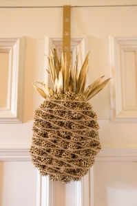 Welcome Pineapple on Door Composed of Sweetgum Seed Pods (also called gum balls or porcupine eggs)