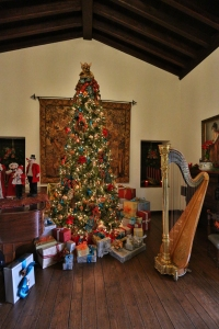 Christmas Tree and Harp in Historic Home