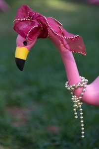 Holiday Flamingo with Beads and Pink Ribbon