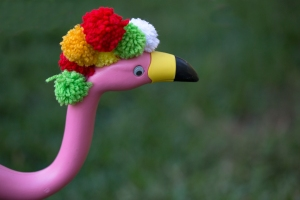 Holiday Flamingo with Pom Poms on Head