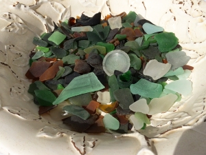 White Bowl of Sea Glass