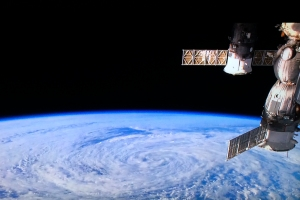 View of Pacific Cyclone from Space Station (streamed by ISS Above to our TV - click for details)