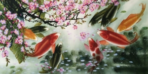 Painting of Colorful Koi
