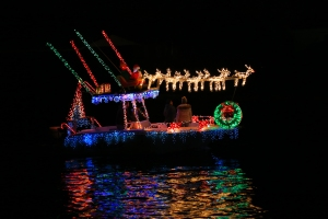 Boat Parade Santa with Reindeer