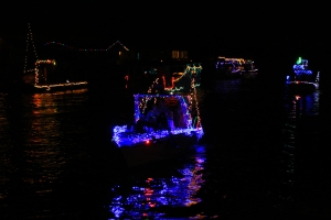 Boat Parade Blue Light Reflections