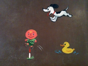 Close-up of Charlie Brown and Snoopy on Nursery Wall