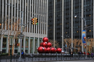 Giant Ornaments in Fountain on 6th Avenue