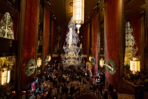 Lobby Featuring 35-foot-tall Swarovski Crystal Christmas Tree Chandelier