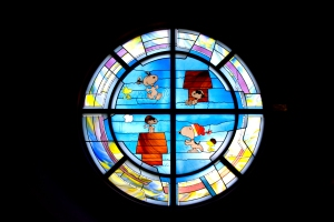 Stained Glass Featuring Snoopy